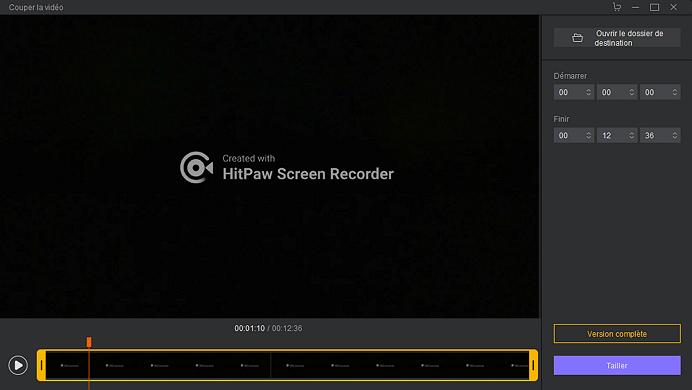 Interface d'édition d'enregistrement d'écran de HitPaw